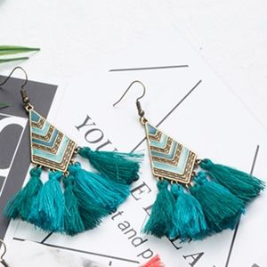 Green Boho Tassel Fringe Statement Earrings